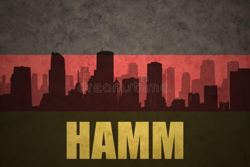 Silhouette abstraite de la ville avec le texte Hamm au drapeau d'Allemand de vintage illustration libre de droits