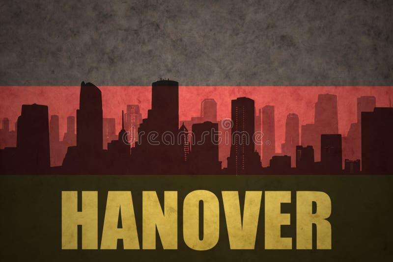 Silhouette abstraite de la ville avec le texte Hannovre au drapeau d'Allemand de vintage illustration de vecteur