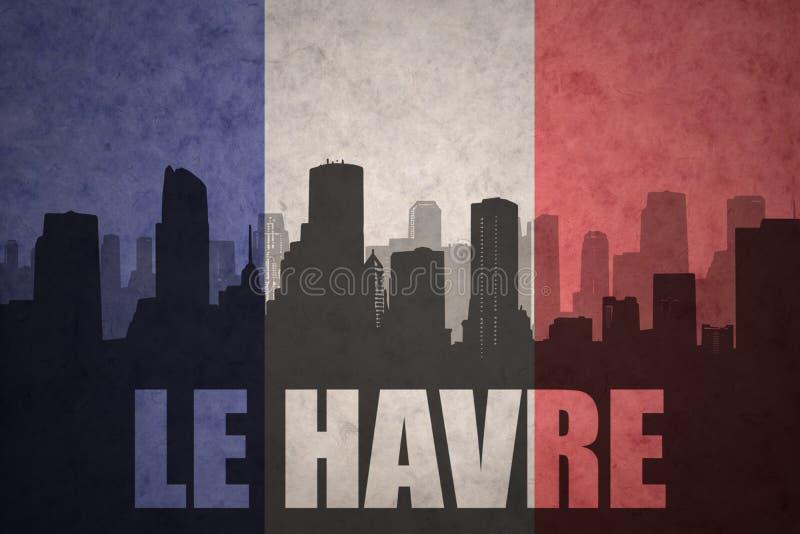 Silhouette abstraite de la ville avec le texte le Havre au drapeau de Français de vintage photographie stock libre de droits