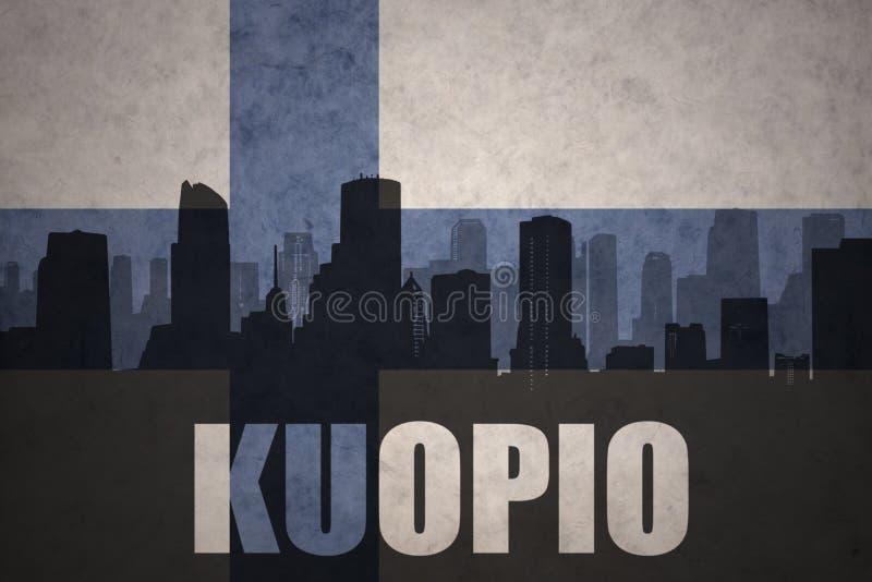 Silhouette abstraite de la ville avec le texte Kuopio au drapeau finlandais de vintage illustration stock