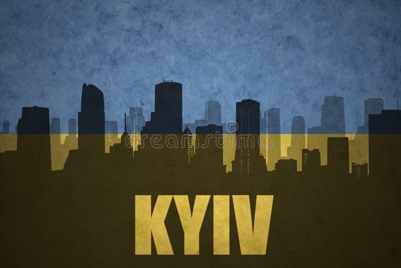 Silhouette abstraite de la ville avec le texte Kyiv au drapeau d'Ukrainien de vintage illustration stock