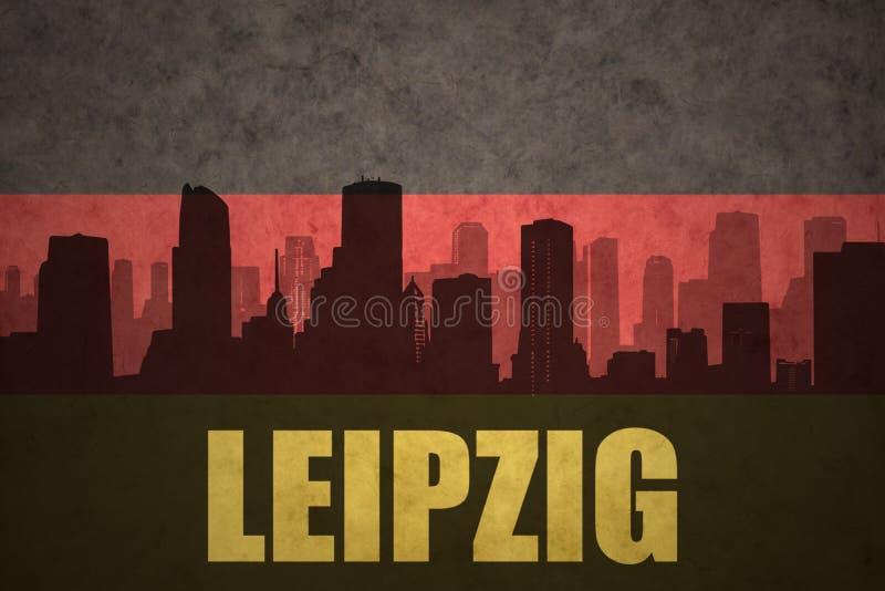 Silhouette abstraite de la ville avec le texte Leipzig au drapeau d'Allemand de vintage illustration libre de droits