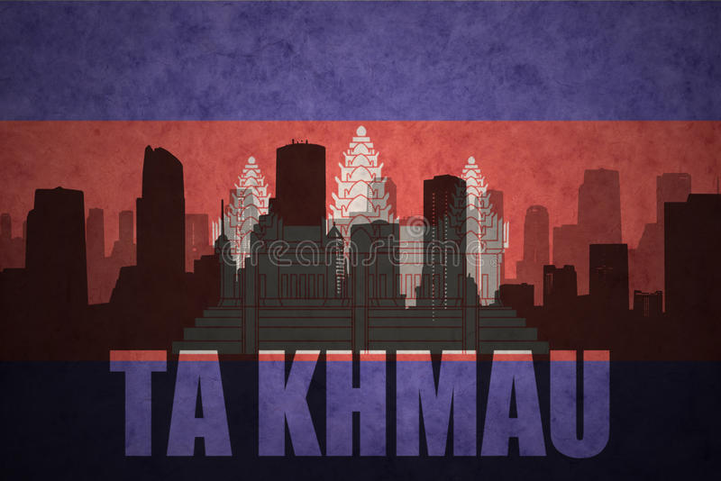 Silhouette abstraite de la ville avec le texte merci Khmau au drapeau de Cambodgien de vintage illustration libre de droits