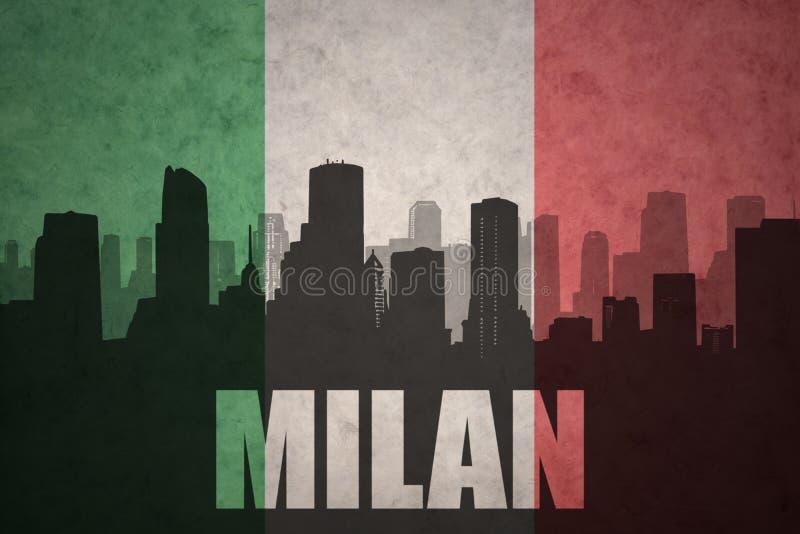 Silhouette abstraite de la ville avec le texte Milan au drapeau d'Italien de vintage illustration de vecteur
