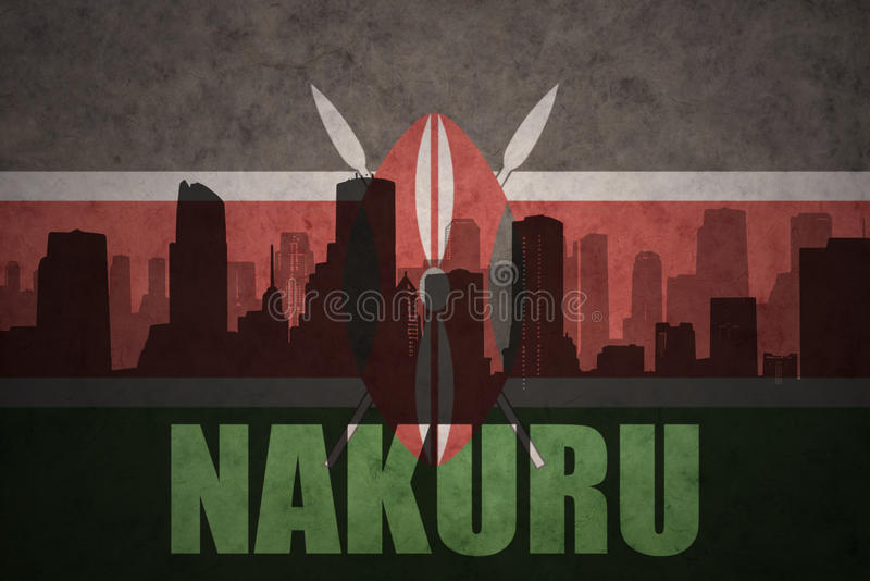 Silhouette abstraite de la ville avec le texte Nakuru au drapeau de kenyan de vintage illustration de vecteur