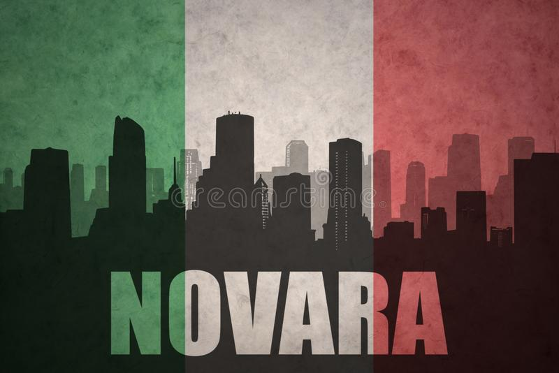Silhouette abstraite de la ville avec le texte Novare au drapeau d'Italien de vintage illustration stock