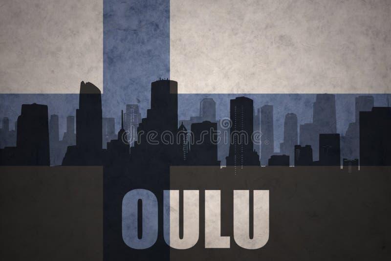 Silhouette abstraite de la ville avec le texte Oulu au drapeau finlandais de vintage illustration stock