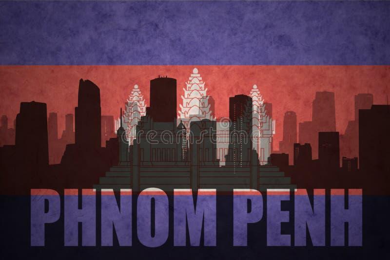 Silhouette abstraite de la ville avec le texte Phnom Penh au drapeau de Cambodgien de vintage illustration de vecteur