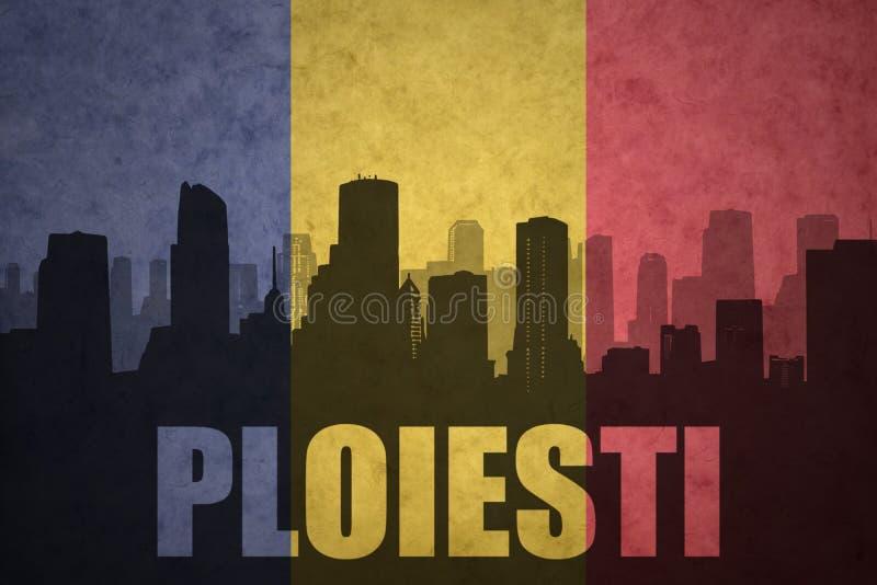 Silhouette abstraite de la ville avec le texte Ploiesti au drapeau de Roumain de vintage photographie stock libre de droits