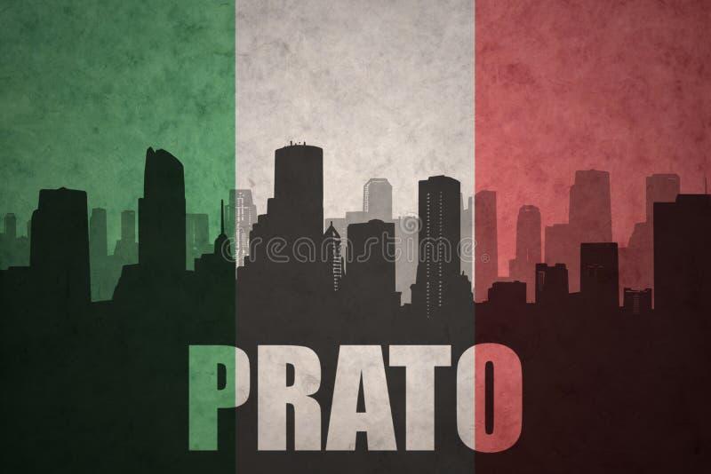 Silhouette abstraite de la ville avec le texte Prato au drapeau d'Italien de vintage illustration de vecteur