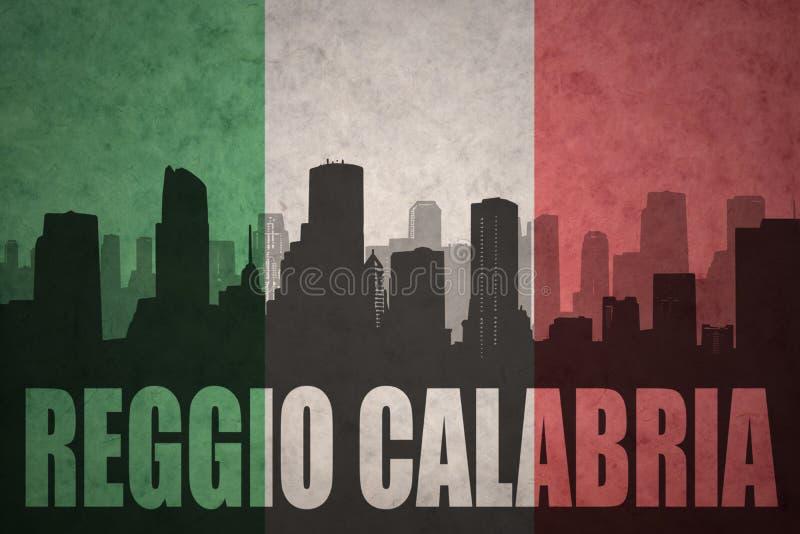 Silhouette abstraite de la ville avec le texte le Reggio de Calabre au drapeau d'Italien de vintage illustration libre de droits