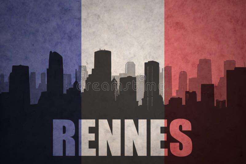 Silhouette abstraite de la ville avec le texte Rennes au drapeau de Français de vintage photographie stock