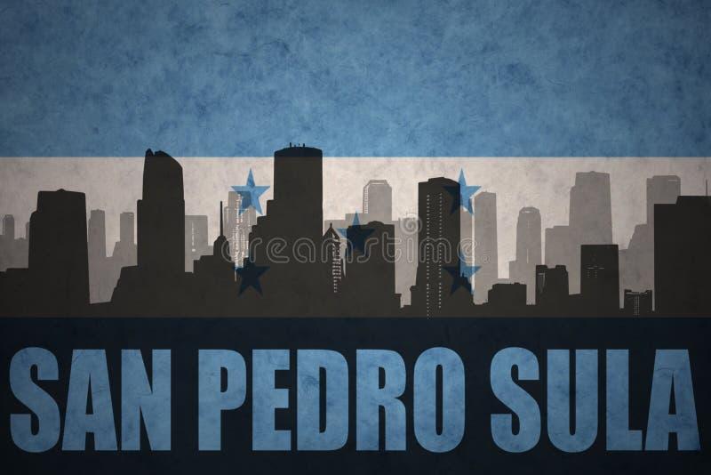 Silhouette abstraite de la ville avec le texte San Pedro Sula au drapeau du Honduras de vintage illustration de vecteur
