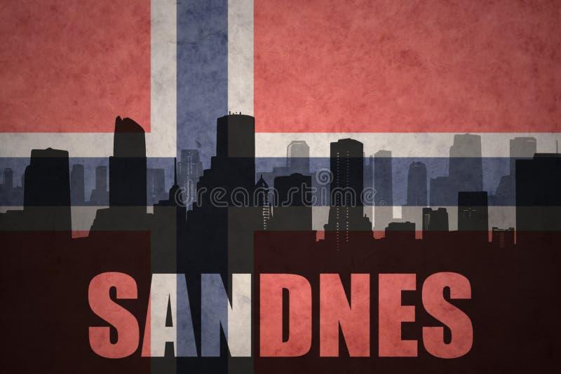 Silhouette abstraite de la ville avec le texte Sandnes au drapeau de Norvégien de vintage images libres de droits