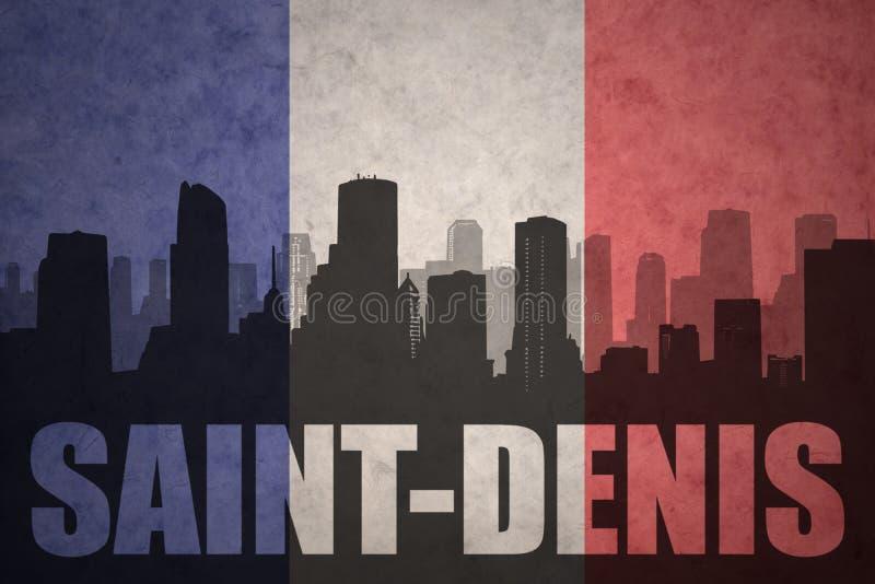 Silhouette abstraite de la ville avec le texte St Denis au drapeau de Français de vintage photographie stock libre de droits