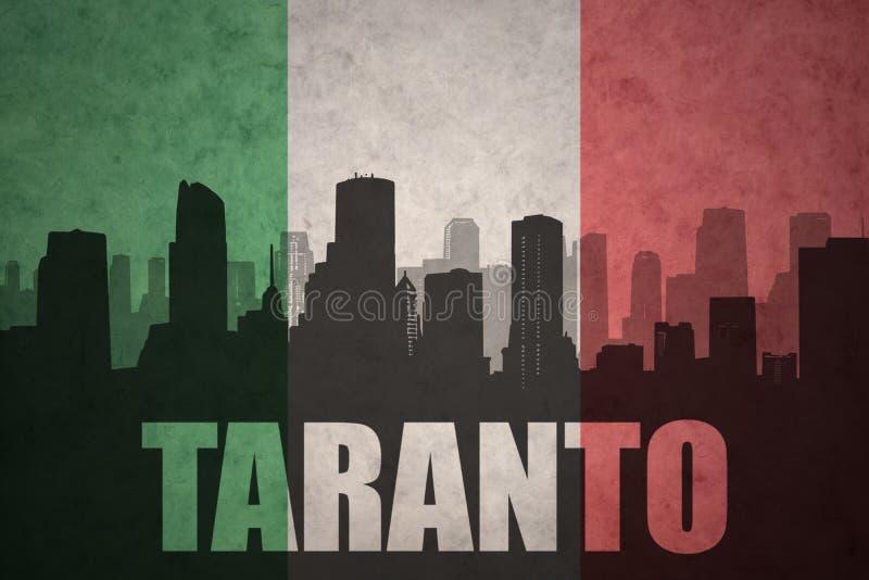 Silhouette abstraite de la ville avec le texte Tarente au drapeau d'Italien de vintage illustration stock