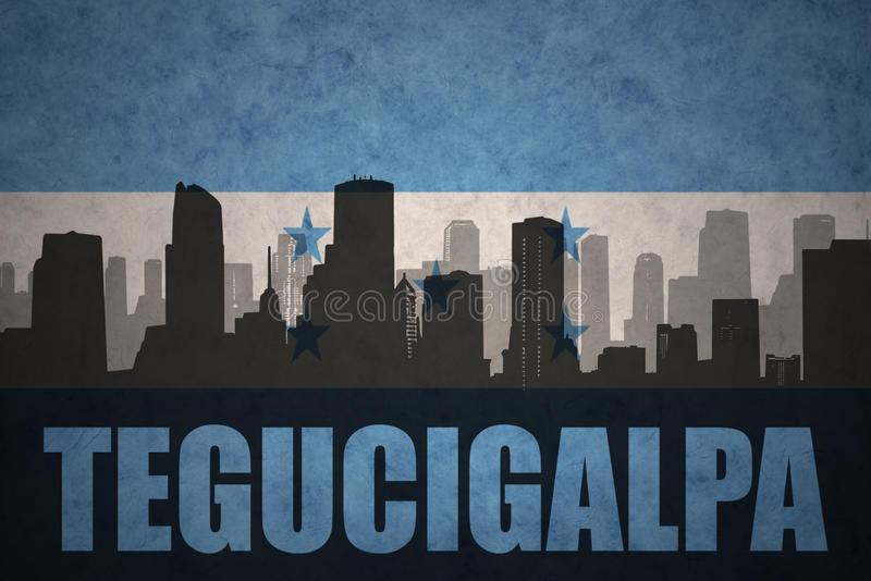 Silhouette abstraite de la ville avec le texte Tegucigalpa au drapeau du Honduras de vintage illustration de vecteur