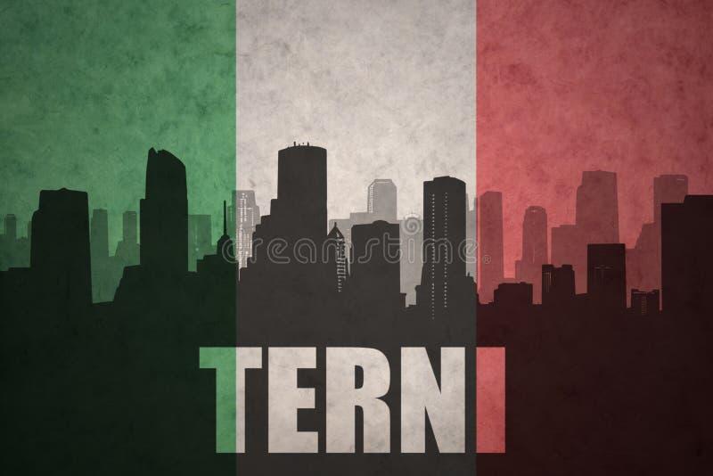 Silhouette abstraite de la ville avec le texte Terni au drapeau d'Italien de vintage illustration de vecteur