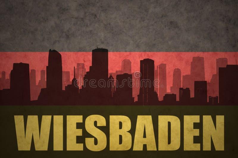 Silhouette abstraite de la ville avec le texte Wiesbaden au drapeau d'Allemand de vintage illustration libre de droits