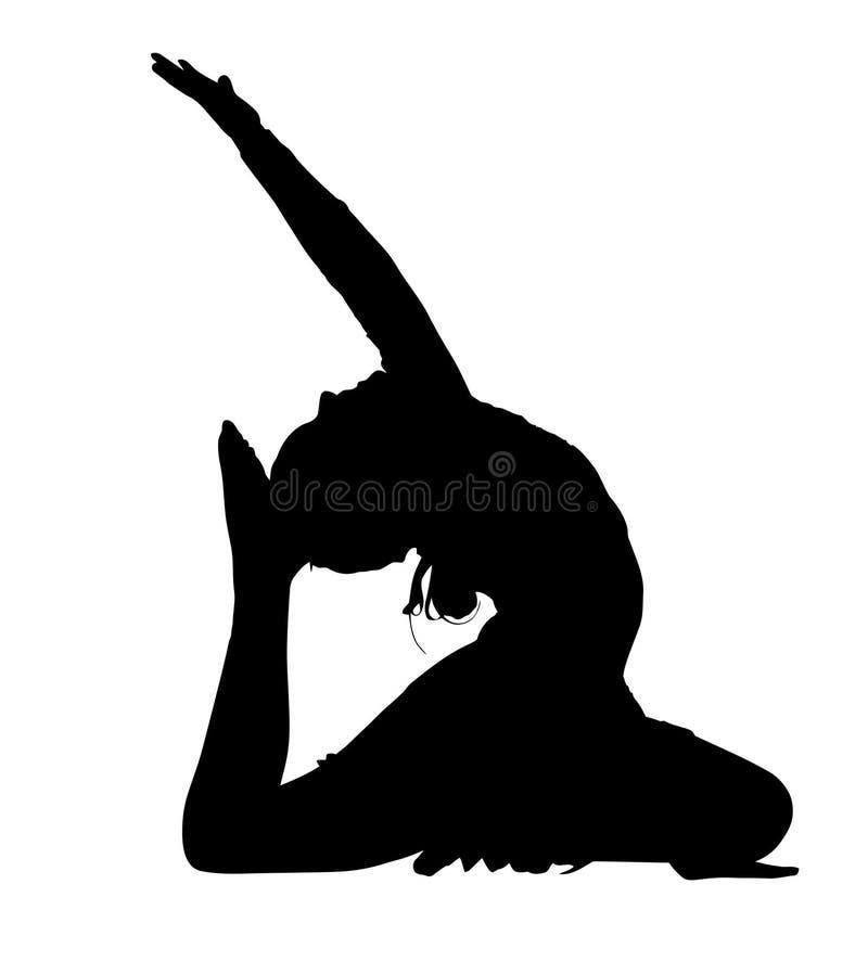 Silhouette acrobatique de routine de danse de gymnastique illustration stock