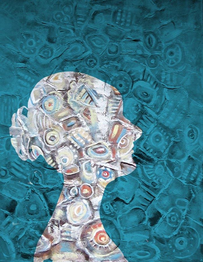 Silhouette acrylique abstraite de peinture de la femme illustration stock