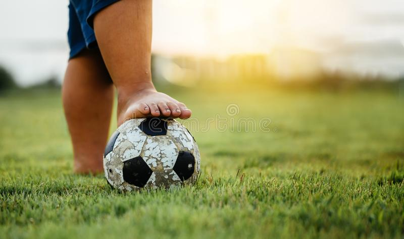 Kids playing soccer football. royalty free stock photo