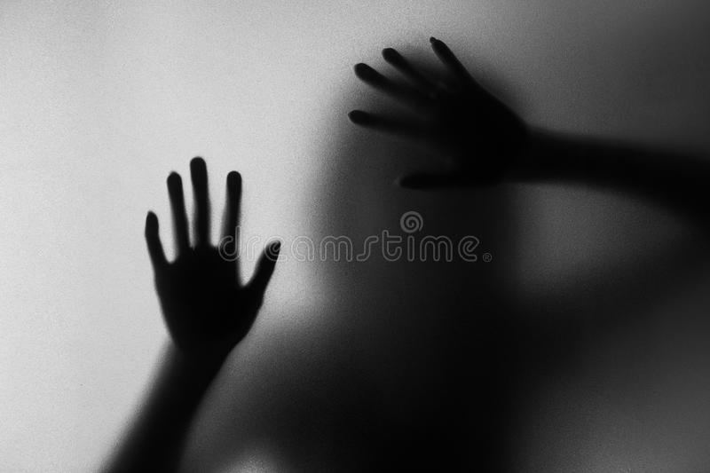 Silhouette of action of woman scream royalty free stock photos