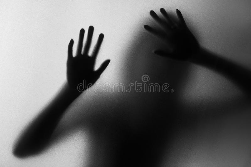 Silhouette of action of woman scream stock photo
