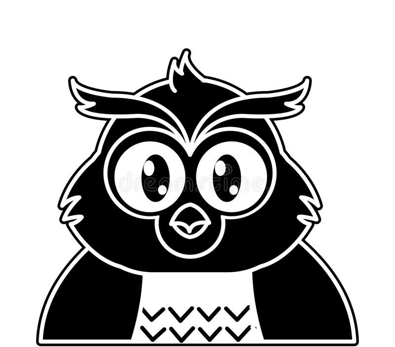 Silhouette adorable owl cute animal character. Vector illustration royalty free illustration