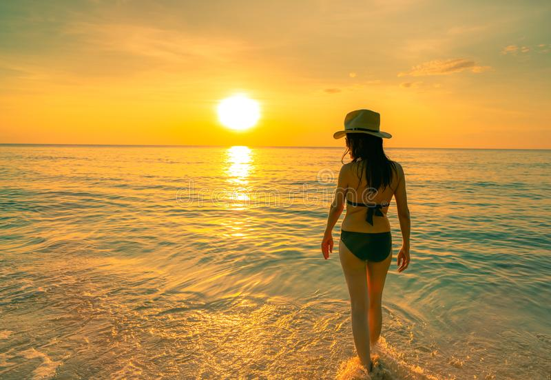 Silhouette adult woman walking at tropical sea with beautiful sunset sky at paradise beach. Happy girl wear bikini and straw hat stock photo