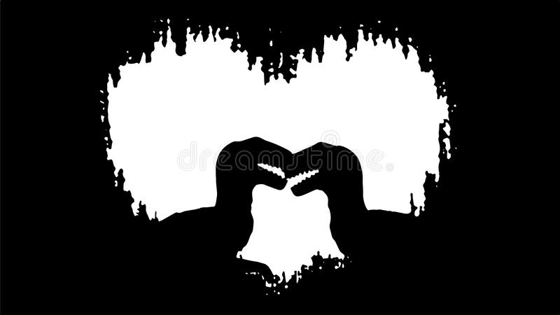 Silhouette of affectionate raptors in front of heart. Vector illustration in black and white / transparent stock illustration