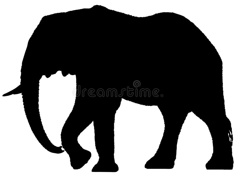 Silhouette of African elephant. vector illustration