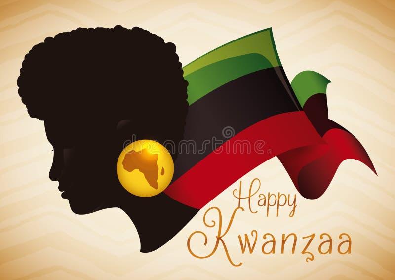 Silhouette afro-américaine de femme de beauté avec le drapeau de Kwanzaa, illustration de vecteur illustration stock
