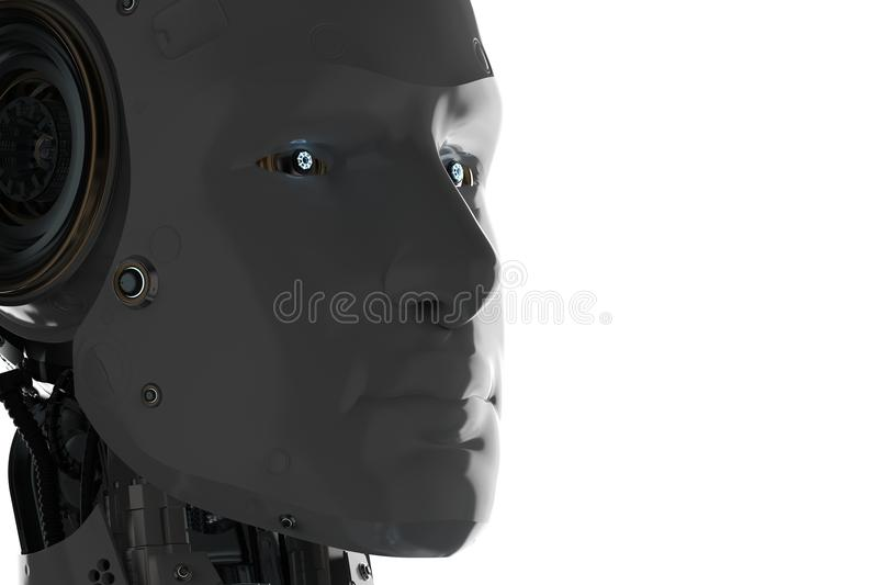 Silhouette ai robot stock illustration