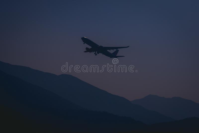 Silhouette of Airplane During Evening royalty free stock image
