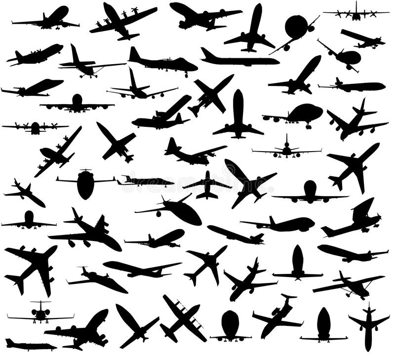 Silhouette of airplanes. Over white background vector illustration