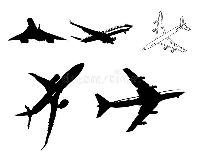 Silhouette of airplanes. Illustration of silhouette of airplanes airbus or plane royalty free illustration