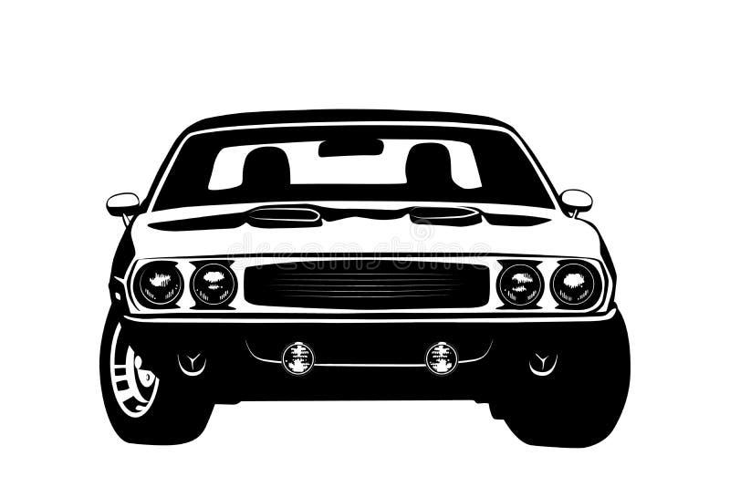 Silhouette américaine de légende de voiture de muscle illustration stock