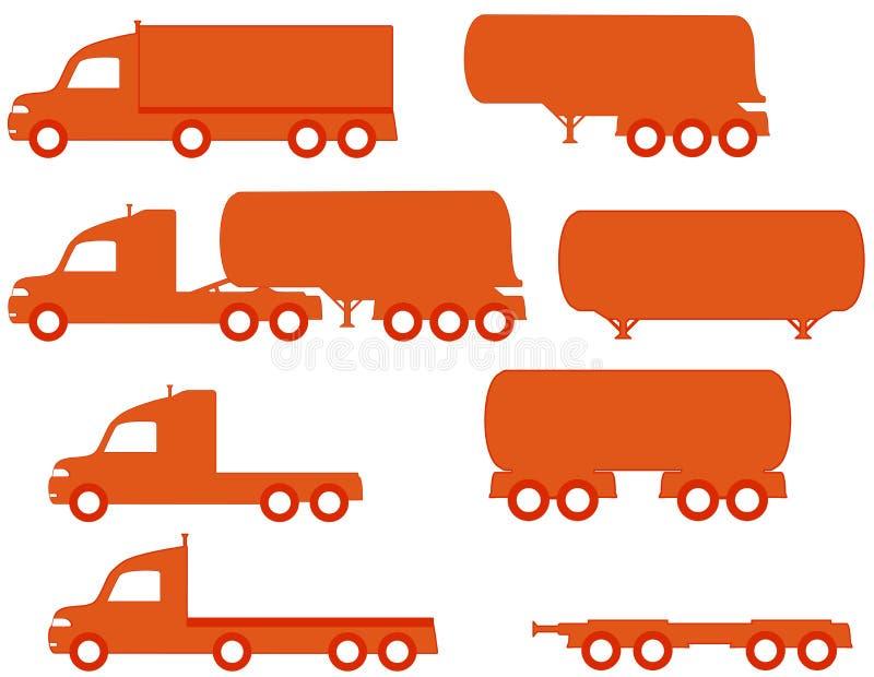 Silhouette américaine réglée de camions illustration de vecteur