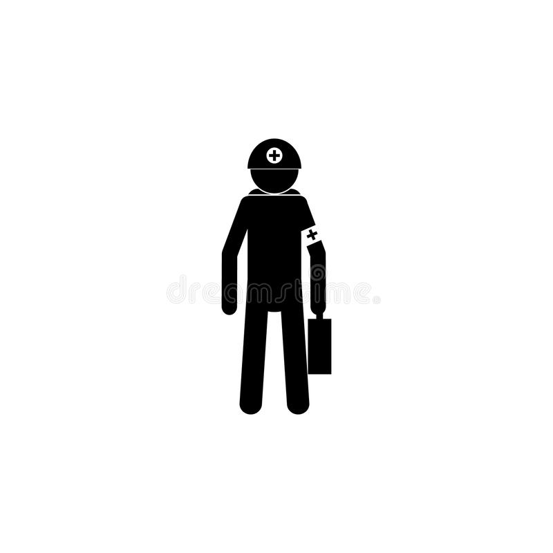 Silhouette of an ambulance employer icon. Special services element icon. Premium quality graphic design icon. Professions signs, i. Solated symbols collection royalty free illustration