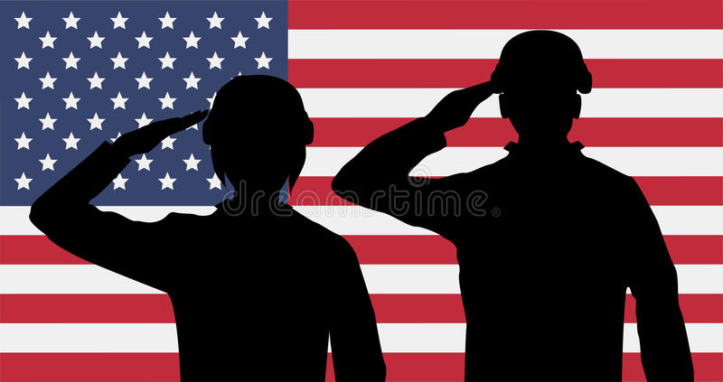 Silhouette american soldiers salute on usa flag stock photos