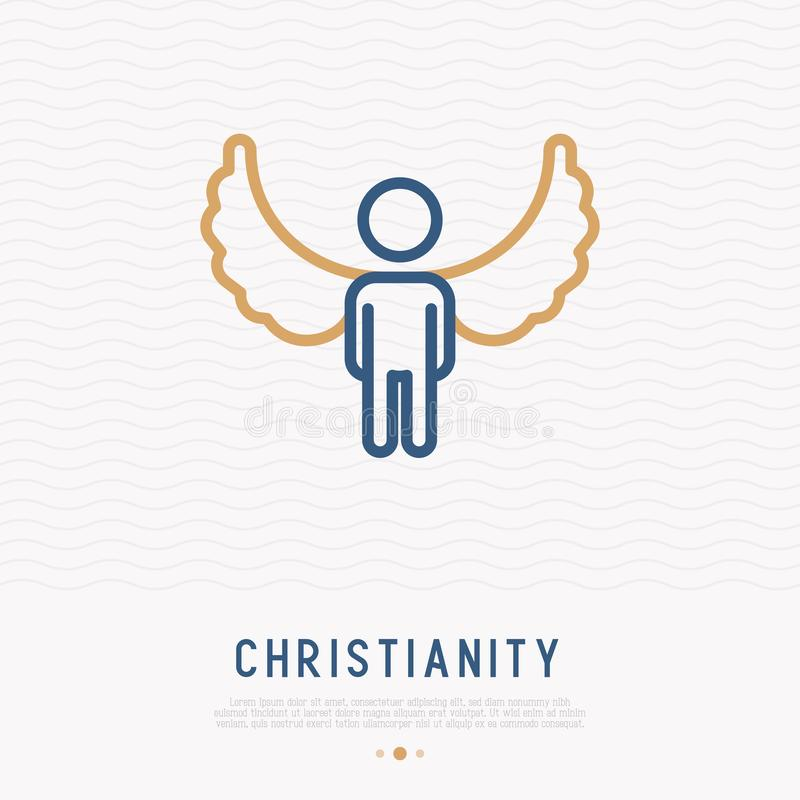 Silhouette of angel with wings thin line icon royalty free illustration