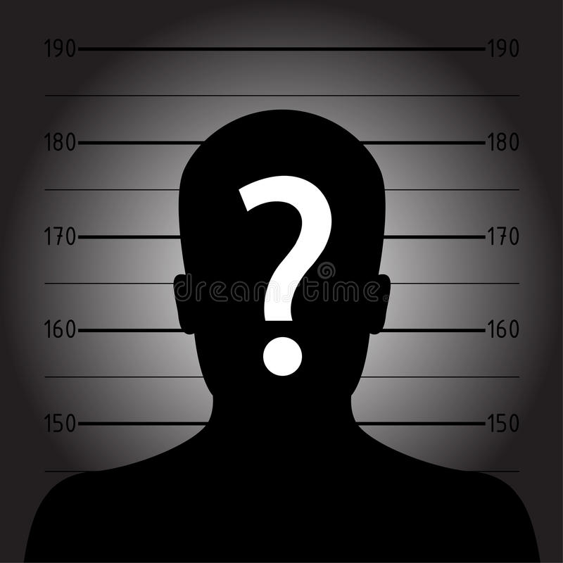 Silhouette of anonymous man in mugshot or police lineup. With question mark vector illustration
