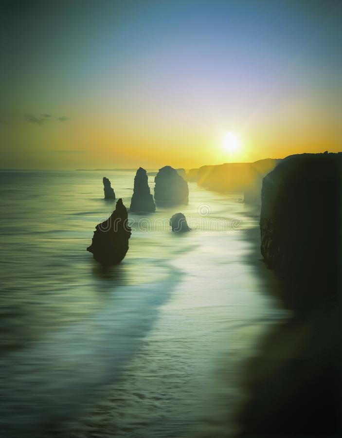 Silhouette of the 12 Apostles at sunset, Great Ocean Road, Victoria, Australia royalty free stock photos