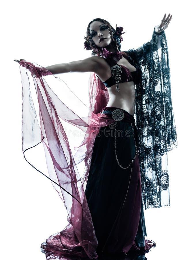 Silhouette arabe de danse de danseuse du ventre de femme photographie stock