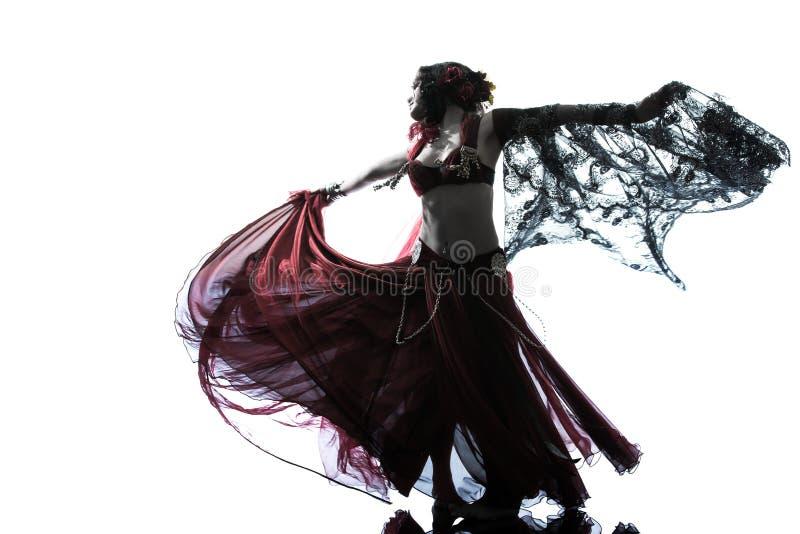 Silhouette arabe de danse de danseuse du ventre de femme photographie stock libre de droits