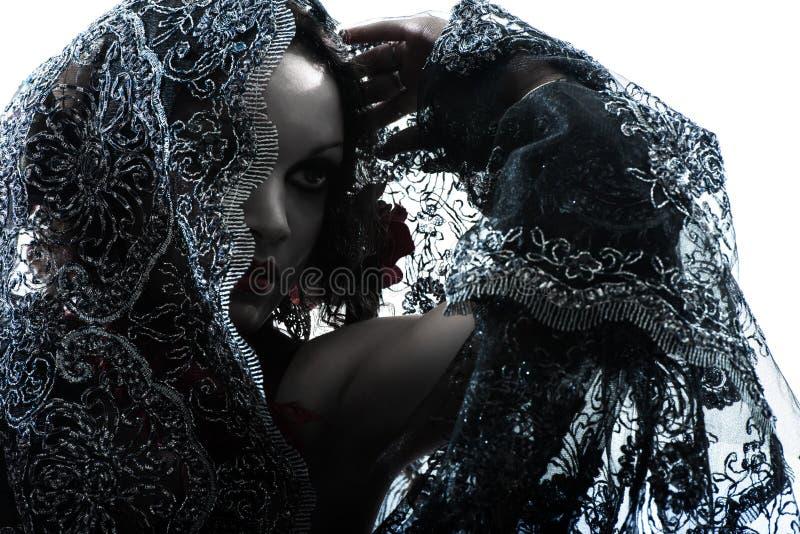 Silhouette arabe de danse de danseuse du ventre de femme image libre de droits