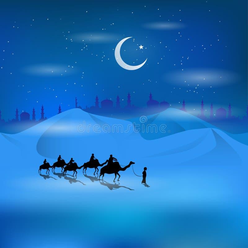 The silhouette of Arabian man riding on camel in dessert vector illustration