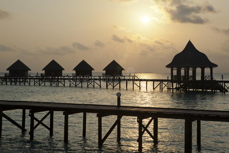 Silhouettearbor over water at sunset. Maldives stock photography