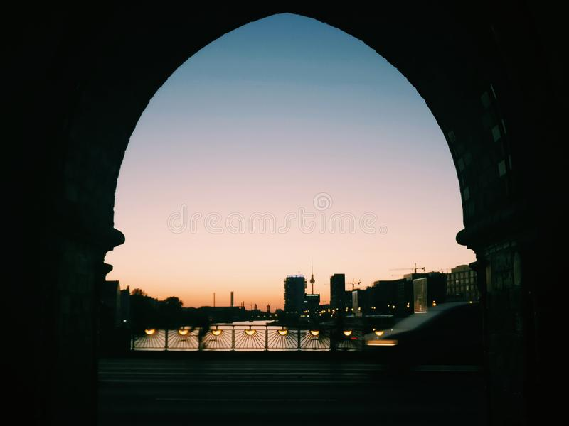 Silhouette of Arch Building royalty free stock image